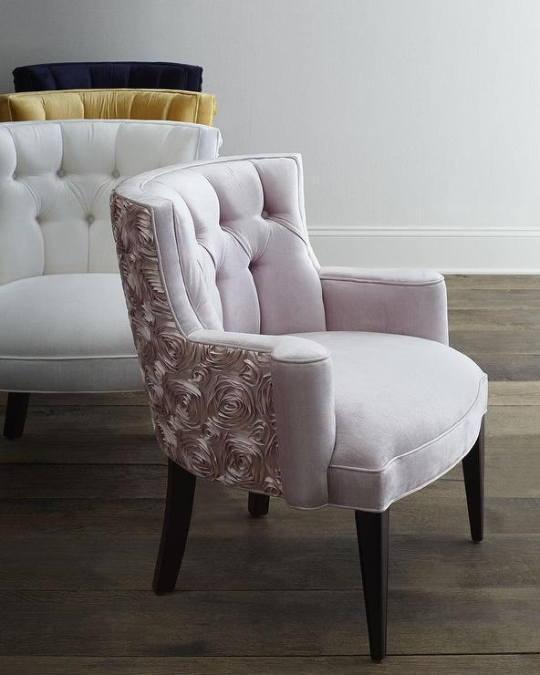tufted accent chairs black leather wingback chair haute house various colors roses back tiffany