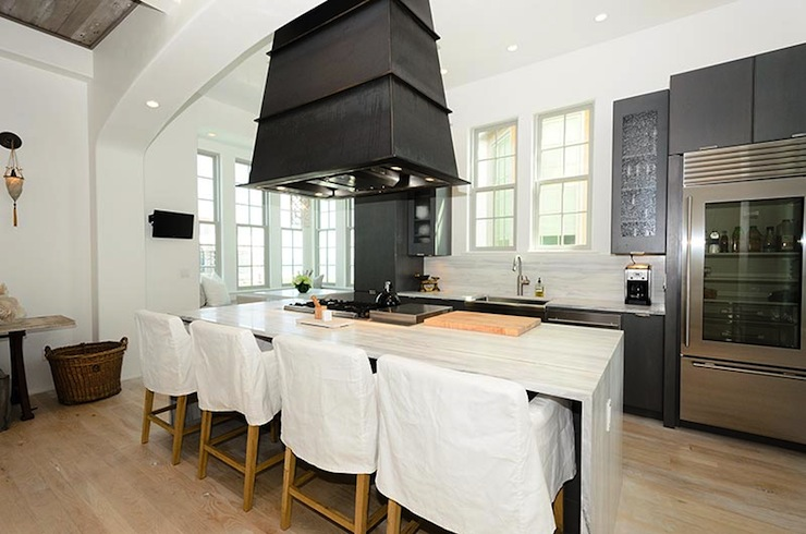 kitchen island with range european style cabinets hood transitional alys beach