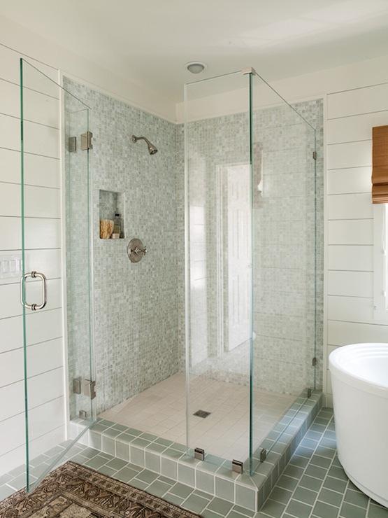 blue gray shower tiles cottage bathroom lauren liess interiors