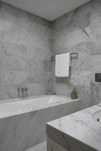 Bathroom with Carrera Marble - Modern - bathroom - Denai ...