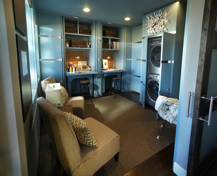 stackable chairs for less white dining table hidden washer and dryer - contemporary laundry room sherwin williams powder blue hgtv