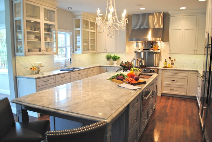 kitchen island with built in seating appliances list super white countertops - transitional karen ...