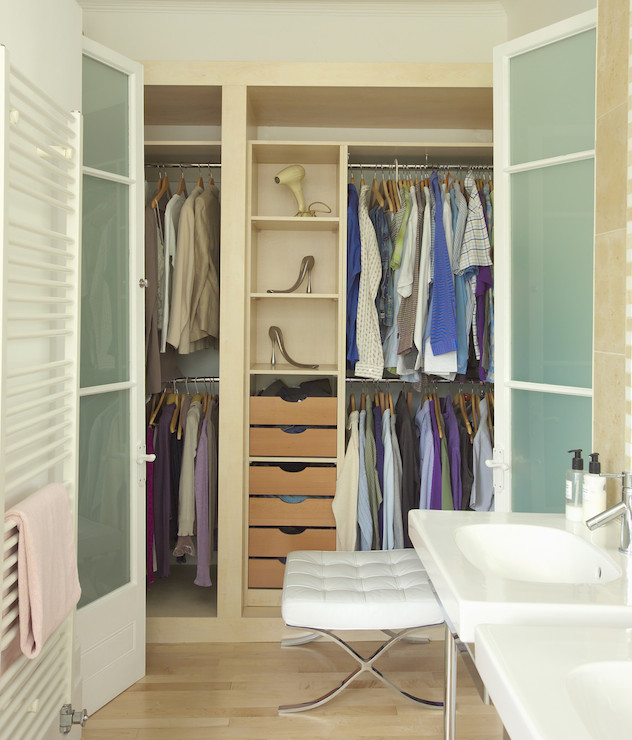 closet with frosted glass doors - contemporary - closet - lonny