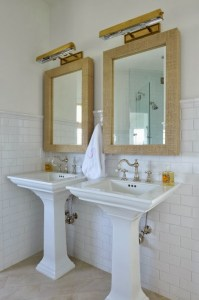 Grasscloth Mirror - Cottage - bathroom - Munger Interiors
