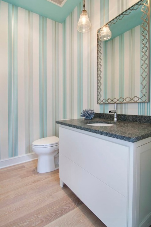 Flocked Turquoise Wallpaper  Contemporary  bathroom