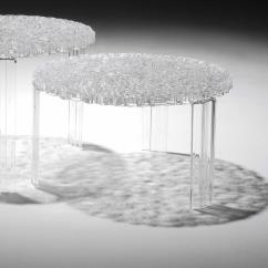 Charcoal Gray Tufted Sofa Fusion 3110 Casper Clear Acrylic Side Table Round Small Tables For ...