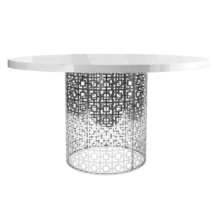 Silver Fretwork Base Round Dining Table