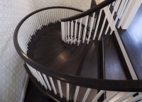 White Staircase with Brown Hand Rail - Transitional ...