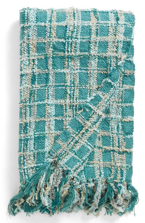 Feather Chenille Textured Turquoise Checkered Throw