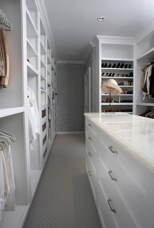 Light Gray Built In cabinets with Gold Hardware
