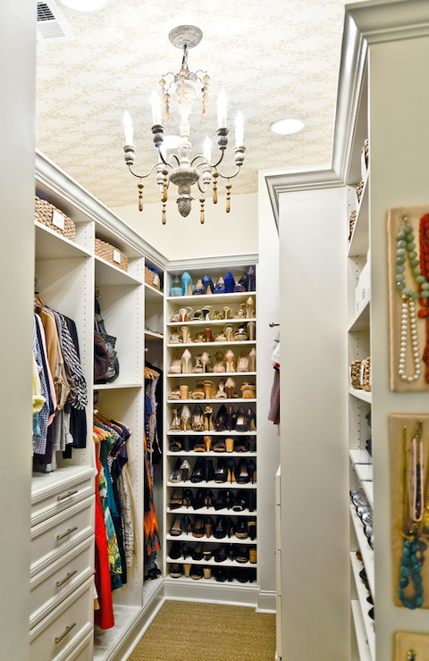 Closet with Wallpapered Ceiling  Transitional  closet