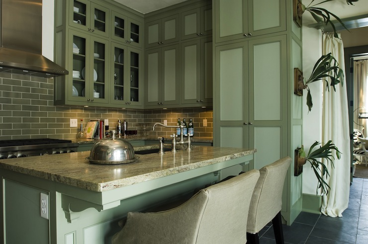 Gray Green Cabinets  Cottage  kitchen  Alys Beach
