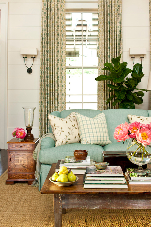 Turquoise Blue Sofa  Cottage  living room  Sherwin Williams Moderate White  Southern Living