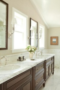 Marble Herringbone Floor - Transitional - bathroom ...