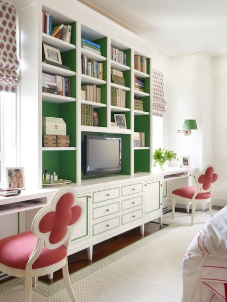 painted home office built ins Painted Backs of Shelves - Transitional - den/library/office - James Wagman Architect