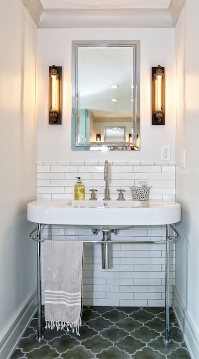 Gray Moroccan Tiles  Contemporary  bathroom  DeRosa Builders