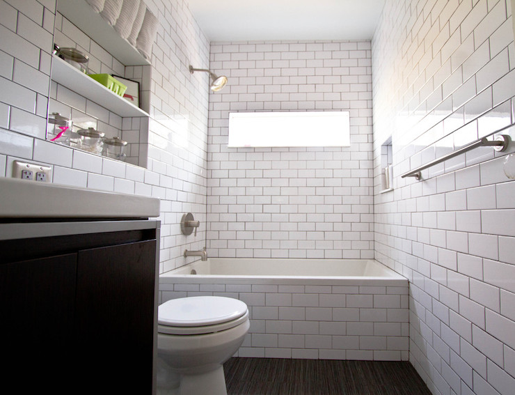 Black And White Subway Tile Contemporary Bathroom
