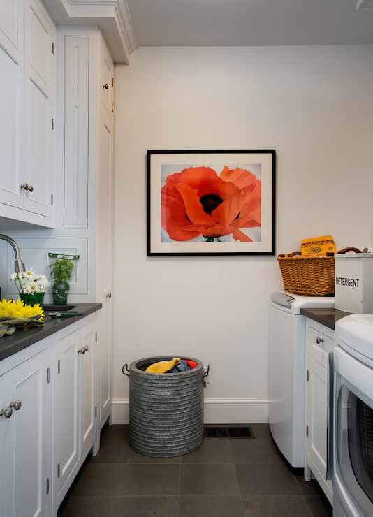 Galley Laundry Room Transitional Laundry Room Crisp