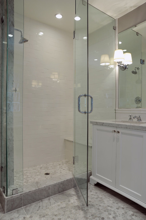 Hexagon Shower Floor  Transitional  bathroom  Kelly Baron