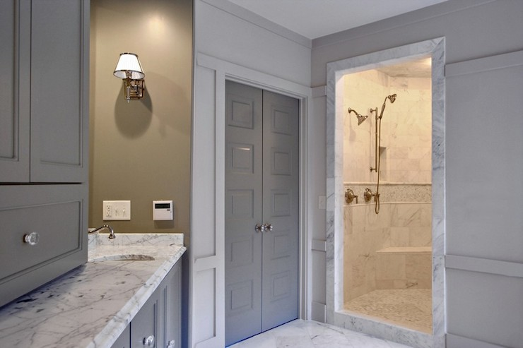 Gray Doors  Contemporary  bathroom  Benjamin Moore
