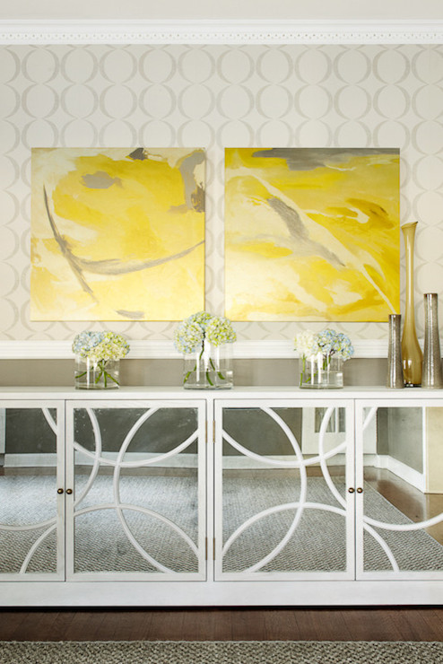 Mirrored Buffet Cabinet  Contemporary  dining room
