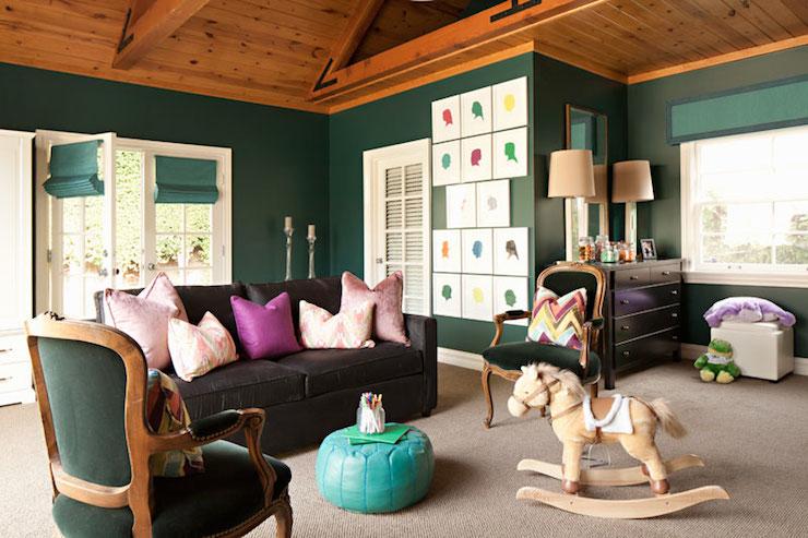 Hunter Green Walls  Contemporary  nursery  Jenn Feldman