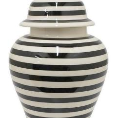 Blue Tile Backsplash Kitchen Small Ideas Pictures Striped Black And White Ceramic Temple Jar