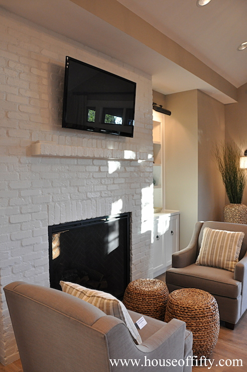 White Brick Fireplace  Transitional  living room  House of Fifty