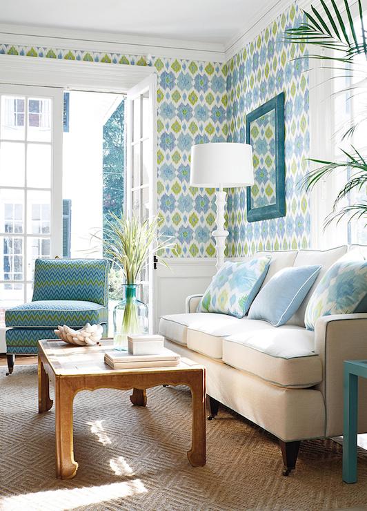 Ikat Wallpaper  Contemporary  living room  Thibaut Design
