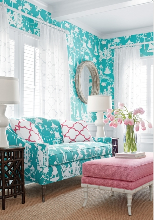 Bright Turquoise Wallpaper For Girls Room Turquoise Sofa Contemporary Living Room Thibaut