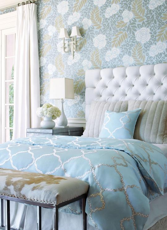 Turquoise Duvet  Transitional  bedroom  Thibaut Design