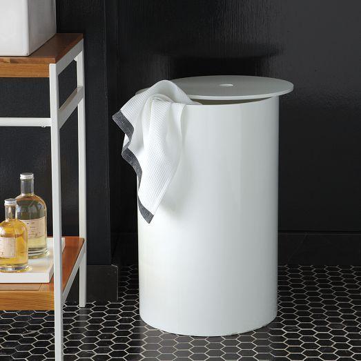 White Lacquer Bath Hamper
