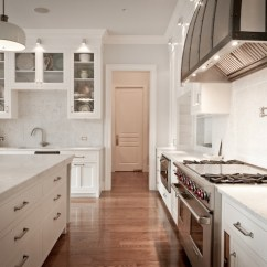 Kitchen Pot Sets Antique Grey Cabinets Carrara Marble Countertops - Transitional ...
