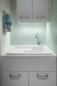 Mint Green Tiles - Contemporary - laundry room - 2id Interiors