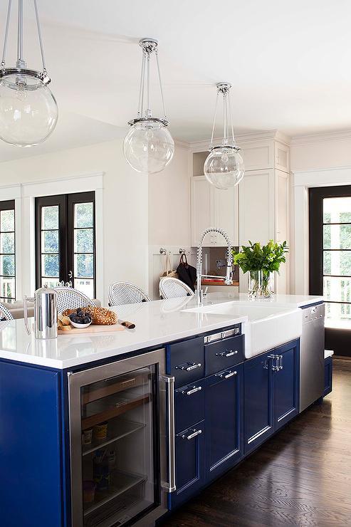 Blue Kitchen Island Transitional Terracotta