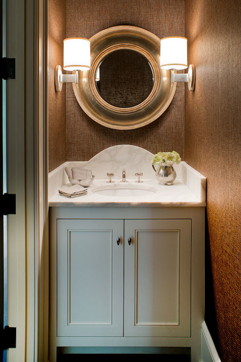 Grasscloth in Powder Room  Transitional Bathroom  Wayne Windham Architect