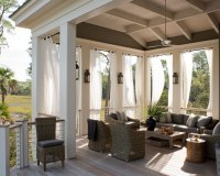 Yellow Outdoor Curtains - Mediterranean - porch