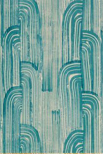 Shop allen  roth Teal Modern Leaf Stripe Wallpaper at