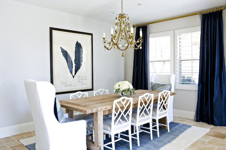 White Bamboo Chairs Transitional Dining Room