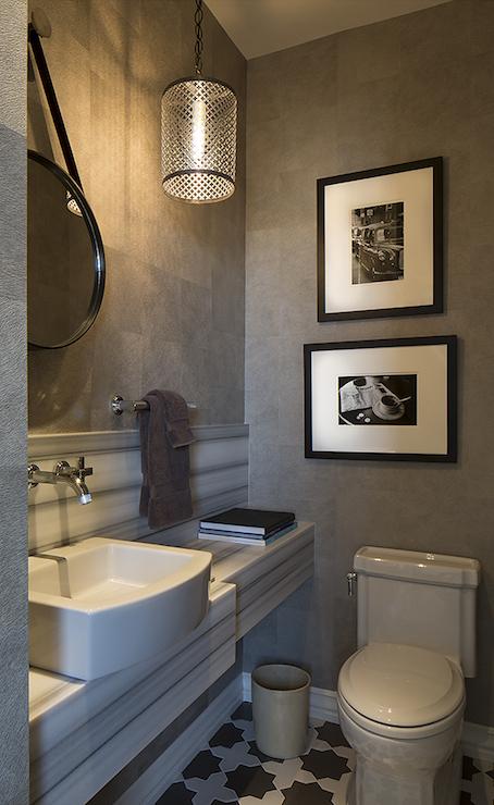 White And Gray Powder Room Contemporary Bathroom Artistic Designs For Living