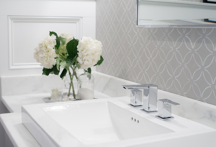 White and Grey Wallpaper  Transitional  bathroom  Cory