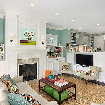 fuzzy sofa slipcover reupholster cushions built in media cabinet - cottage living room molly ...