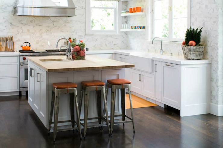 butcher block top kitchen island track lights for orange accents - transitional benjamin moore ...