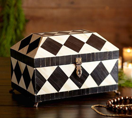 Harlequin Black and White Jewelry Box
