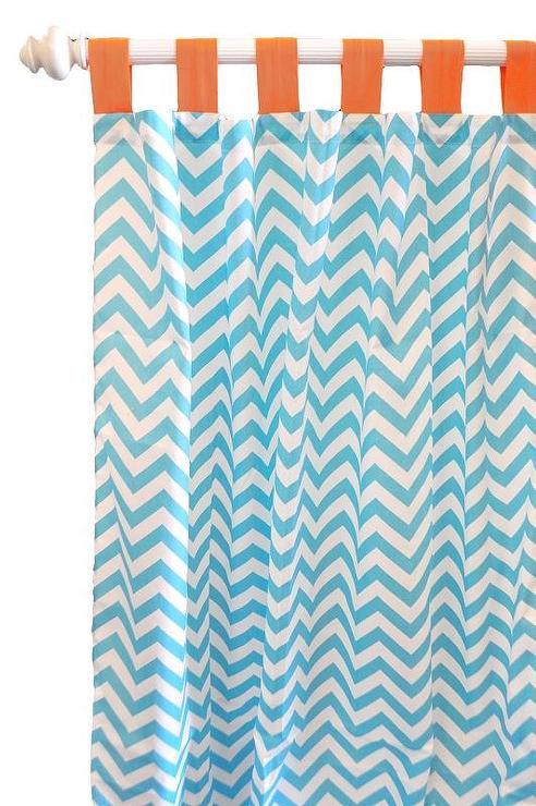 Blue Chevron Curtain Panels