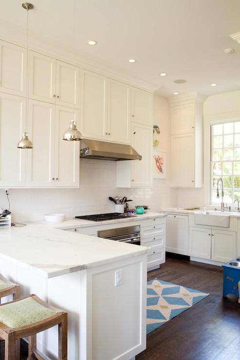 White Shaker Kitchen Cabinets with Gold Hardware