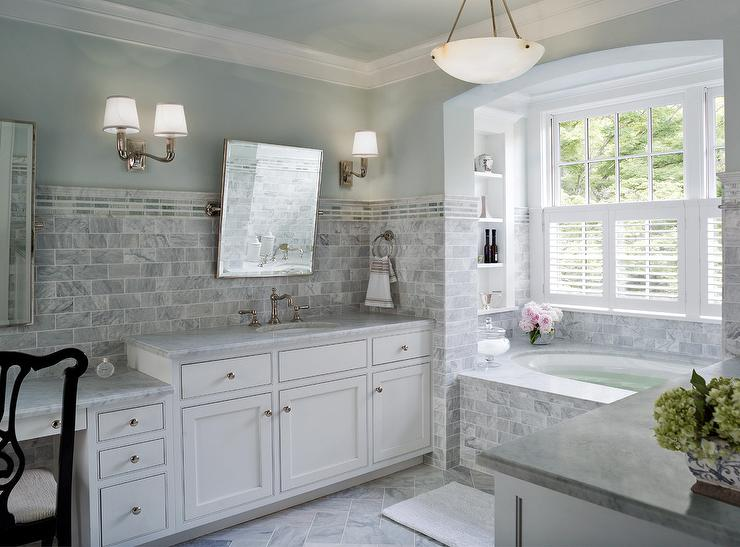 Marble Tiled Bathtub  Transitional  bathroom  Donald