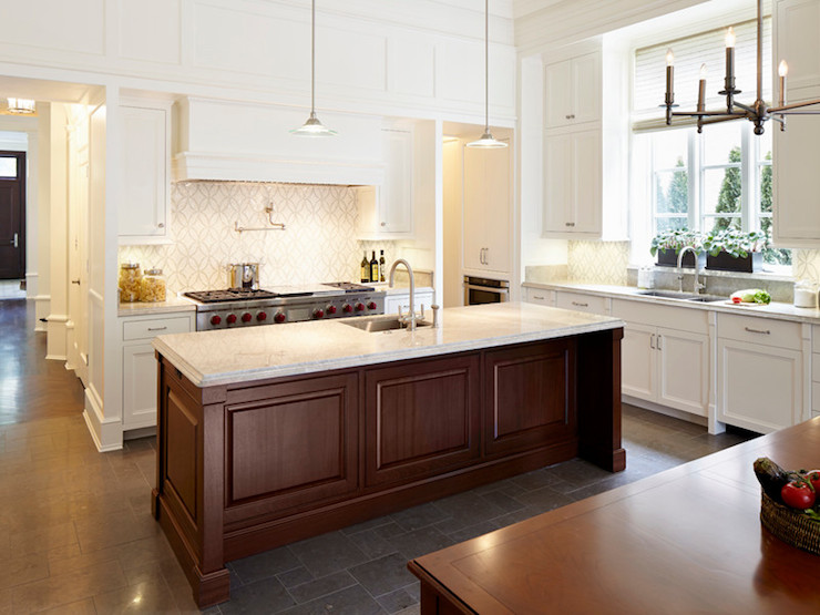 two tone kitchen island delta faucets perimeter countertops design ideas