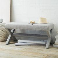 Cross Base Grey Upholstered Bench