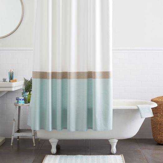 Blue and White Wide Stripe Shower Curtain